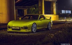 Picture machine, auto, coupe, Mazda, before, Mazda, yellow, auto, RX-7, RX7