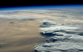 Picture sunset, clouds, Earth from space