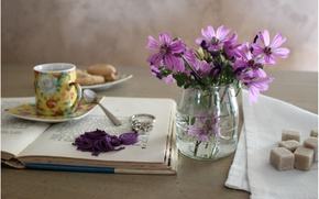 Wallpaper bouquet, cookies, Cup, sugar, keychain, owner, spoon, saucer, pause, napkin