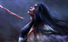 Picture girl, blood, sword, captain, cloak, Bleach, Bleach, art, Shinigami, nanfe, despair, unohana retsu
