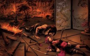 Picture fire, the situation, katana, Sakura, tears, naruto, kimono, naruto, Sasuke, Uchiha