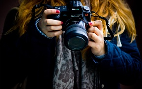 Picture girl, photo, mood, hands, the camera, background. Wallpaper