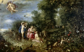 Picture flowers, picture, mythology, nature, The Four Elements, Jan Brueghel the younger