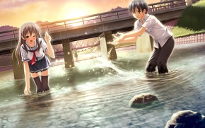 Picture bridge, splashing, river