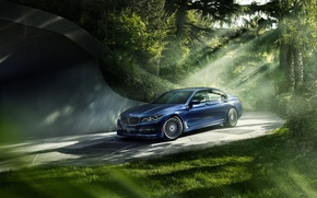 Wallpaper forest, light, BMW, 7 Series, Alpina