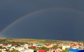 Wallpaper The village, After the rain, Large Fangs, Rainbow, Panorama, Kazan
