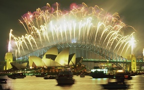 Picture bridge, Sydney, New year, theatre, fireworks, harbour