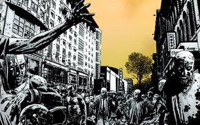 Wallpaper the city, street, the crowd, zombies