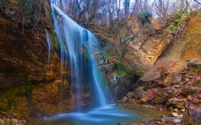 Picture autumn, trees, landscape, stones, waterfall, gorge, Crimea, autumn, waterfall