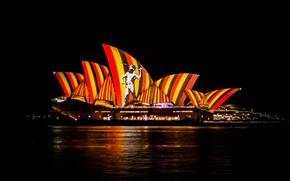 Picture night, lights, Australia, Sydney, Opera house