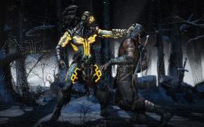 Picture sake, snow, battle, tree, sword, blood, death, corpse, Kotal Kahn, Mortal Kombat, MK X, Scorpion, ...