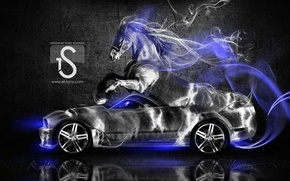 Picture Mustang, Ford, Horse, Blue, Smoke, Neon, Fantasy, Style, Ford, Horse, Wallpaper, Muscle, Mustang, Car, Fantasy, …