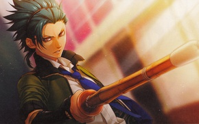 Picture jacket, hairstyle, tie, guy, art, visual novel, Kamigami no Asobi, Yone Kazuki, Takeru Totsuka, bamboo …