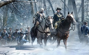 Picture sword, gun, pistol, USA, weapon, hat, war, snow, tree, man, army, leather, Assassin's Creed, american, …