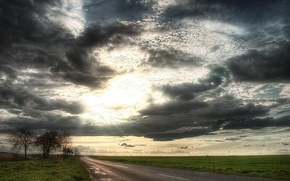 Wallpaper the sun, field, clouds, Road