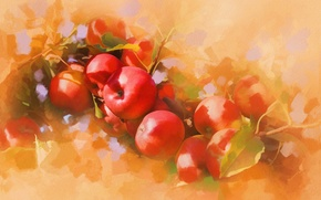 Picture apples, picture, art, painting, painting, ruddy, apples, liquid, ripe.