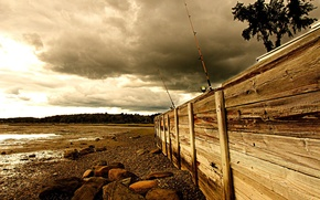 Picture sea, the fence, fishing