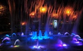 Picture night, lights, light, night, Sochi, singing fountains