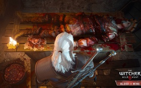 Wallpaper Geralt of Rivia, the corpse, candles, the Witcher, Blood and Wine, DLC, swords, blood, The ...