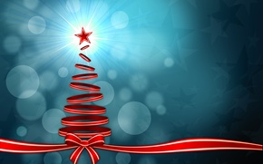 Picture rays, light, holiday, graphics, new year, Christmas, stars, tape, tree, christmas, new year, bow, bokeh