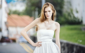 Picture Girl, Model, Urban, White, Street, Shoot, Woman, View, Photography, Blouse, Kathia