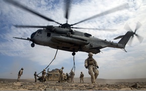 Picture weapons, army, soldiers, helicopter, landing