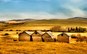 Picture hills, field, sheds