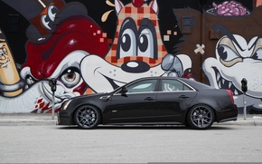 Picture black, Cadillac, profile, grafiti, black, CTS-V, Cadillac