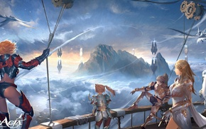 Picture flight, mountains, birds, rocks, ship, lineage 2, characters, in the sky