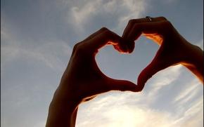 Wallpaper sign, hands, heart, love, the sky, feeling, love