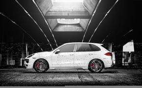 Picture Porsche, turbo, white, side, Cayenne, 958, V-CT Edition