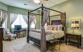 Picture design, style, bed, pillow, chairs, curtains, bedroom