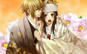 Picture girl, flowers, guy, kimono, Yukimura Chizuru, Shinsengumi Demons Sakura, Hakuouki Shinsengumi Kitano, Chigake Kazama