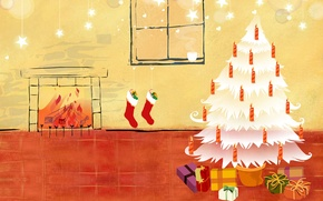 Picture tree, new year, vector, gifts