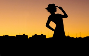Wallpaper hat, city, silhouette, Tango, pose, woman