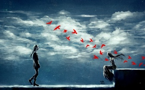 Picture girl, clouds, birds, serenity, guy, art, nanfe