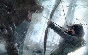 Picture girl, snow, wolf, bow, arrow, lara croft, tomb raider, Siberia, Rise of the Tomb Raider