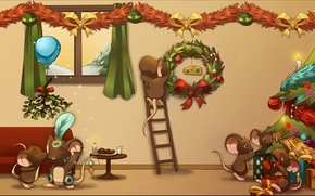 Wallpaper Gifts, Mouse, Transformice, Mouse, Bubble epic, т4м, Christmas, Cheese, Tree