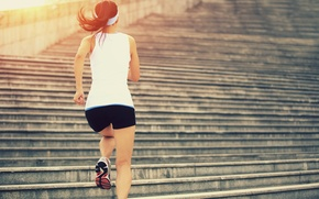Picture female, stairs, running