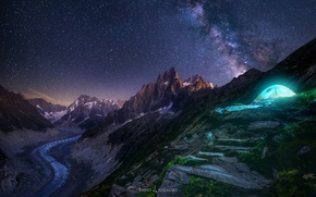 Wallpaper the sky, stars, light, mountains, night, rocks, tent, the milky way