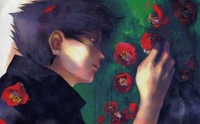 Picture sadness, hand, art, on the grass, Sasuke Uchiha, in profile, Naruto Shippuden, Yamato, red Camellia