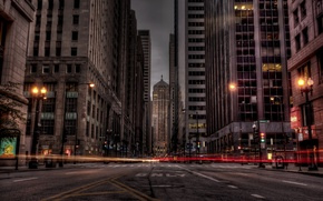 Picture road, night, the city, lights, building