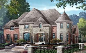 Picture house, figure, stone Mystique's homes
