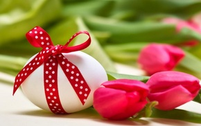 Picture flowers, eggs, bouquet, tulips, Easter, Easter