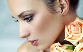 Picture look, girl, flowers, eyelashes, model, hair, makeup, profile, blush