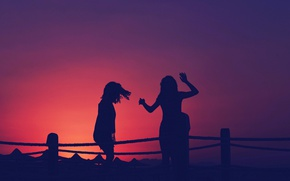 Picture girls, sunset, silhouettes