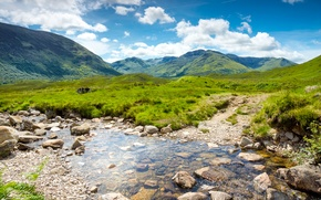Picture stones, landscape, mountains, nature, UK, water, greens, Scotland, Scotland, stream, clouds, the sky, grass, valley, ...