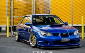 Picture turbo, wheels, subaru, blue, wrx, impreza, jdm, tuning, power, front, sti, face