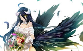 Picture girl, flowers, smile, bouquet, anime, art, horns, bba biao, albedo, overlord