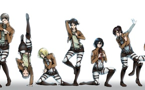 Picture girls, anime, art, guys, poses, mikasa ackerman, eren jaeger, Shingeki no Kyojin, christa renz, annie …